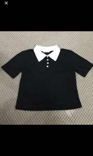 korean black with white collar polo top