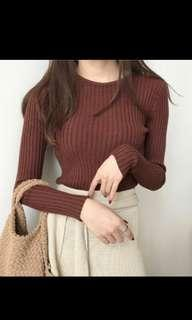 Knitted Sweater Brown #singles1111