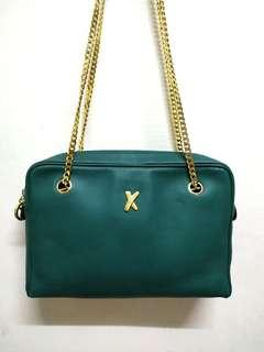 Vintage Paloma Picasso Dark Teal Coated Leather Shoulder Bag With Gold Chain Strap Made ln ltaly