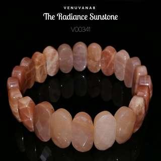 🚚 The Radiance Sunstone Crystal Bracelet (9x20mm Thickness 6mm oval shaped faceted Bead) - Sunstone brings sunshine ray into our life and radiates warm energy that gives us the feeling of a sense of belonging.