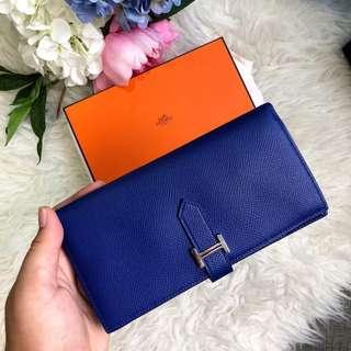 💙💙Super good deal!💙💙 Hermes Bearn Wallet in Bleu Electrique Epsom PHW