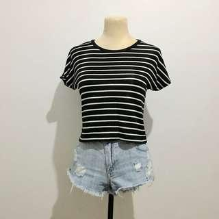Zara Black and White Stripes Crop Top