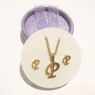 Stainless Steel Letter P Earrings and Necklace Set