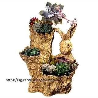 Tree Trunk Rabbit Planter Pot Gardening Supplies