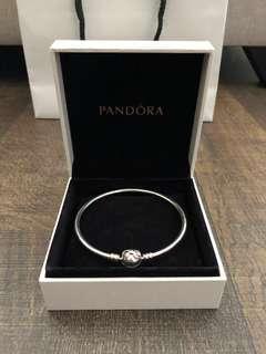 Pandora Silver Bracelet Bangle Ribbon Rhinestone Clasp NEW!! Authentic!!