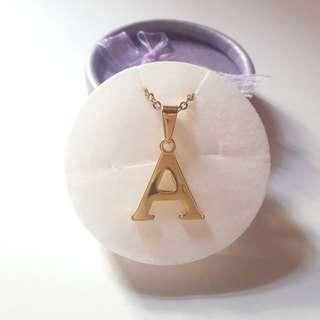 Stainless Steel Letter A Necklace