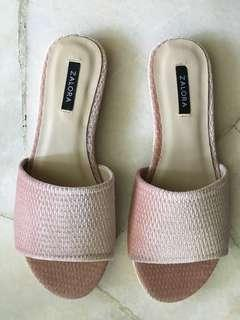 Zalora Pink Velvet Slip Ons / Sandals / Shoes