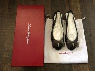 Salvatore Ferragamo AU5 EU35 Black Spiffy Jelly Flats Shoes RRP$395!! Authentic!!
