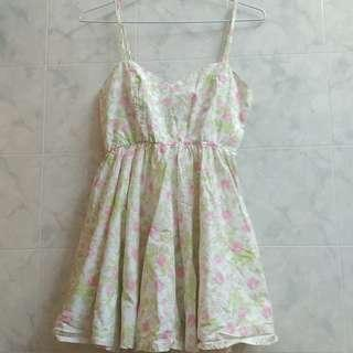 glamour 碎花 玫瑰 清新 洋裝 短裙 無袖 細肩帶 粉紅 粉綠 氣質 抓皺