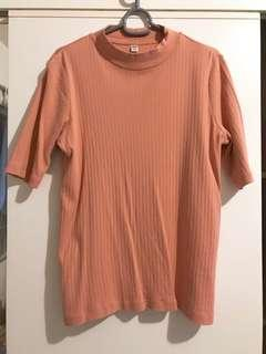 Uniqlo Coral Pink Ribbed Top