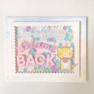 Welcome back card Shaker pastel rainbow color handmade