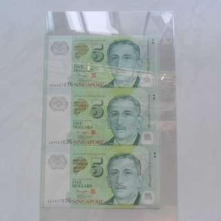 Singapore Polymer Portrait Series $5 Commemorative Note 3-in-1 Uncut Sheet