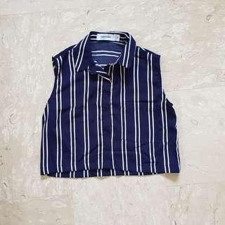 TEM Navy Striped Sleeveless Top #single11