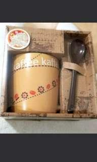 日本精美陶瓷杯連匙更套裝