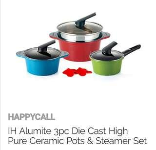 Happycall IH Alumite 3-Pc Die Cast Pots & Steamer set