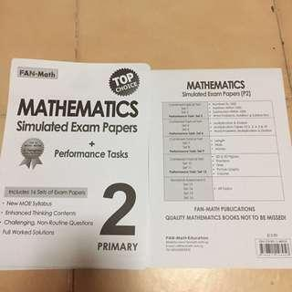 BN FAN-Math Stimulated exam papers + performance tasks for primary 2. Only used 3 sets. Left 13 sets. I stapled it for easy sorting.