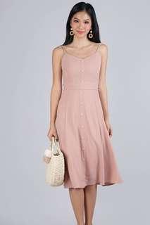 Thetinselrack TTR Izzy V Neck Midi Dress in Blush Pink - Size XS