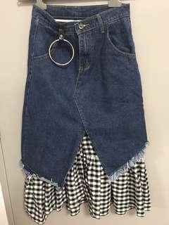 Long denim / checkered skirt (27 inches waist)
