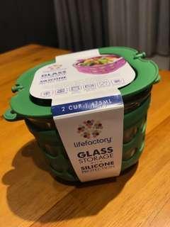 美國唯樂Lifefactory 繽紛彩色玻璃保鮮盒 - 475ml 綠色