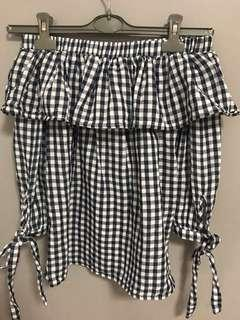Zalora Off shoulder checkered top
