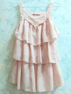 MAYUKI 超美 夢幻 浪漫 約會洋裝 短洋 無袖 粉紅色 粉色 軟妹 蘿莉 可愛 蕾絲 絲質 蛋糕裙