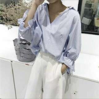 🚚 瑕疵❗韓版直條紋襯衫
