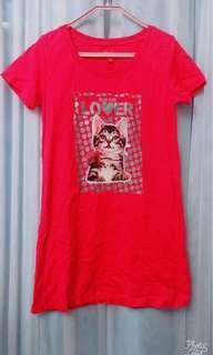 桃紅色玫瑰花閃粉貓貓 T shirt
