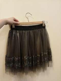 K.a.t OL skirt 黑色 雙層網紗 女裝返工裙 lace 蕾絲裙腳