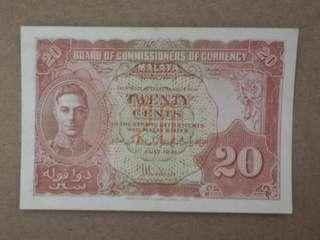 Malaya twenty cents king george