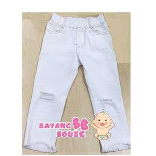 kids Korean-Style denim white pants children boy long pants (3yrs old to 7yrs old)