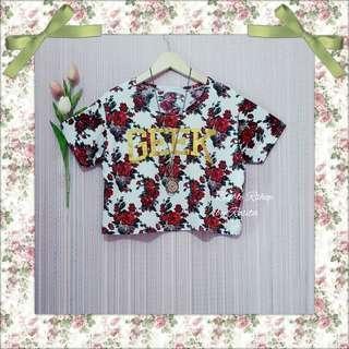 Kaos Bangkok Tshirt Flowery Floral Rose Mawar Geek Baju Bkk Preloved Second Bekas Berkualitas