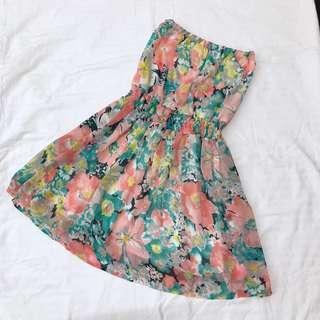 Floral dress tube dress chiffon