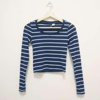 H&M 條紋 短版 合身 上衣