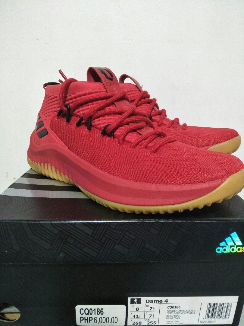 the best attitude a105e b9a6b Adidas Dame 4 Red Gum, Men s Fashion, Footwear, Sneakers on Carousell