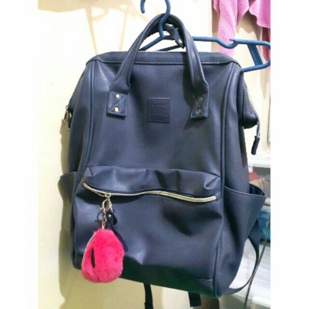 AUTHENTIC Anello Faux Leather Hinged Clasp Backpack - NAVY, Women s  Fashion, Bags   Wallets on Carousell c30de5b564