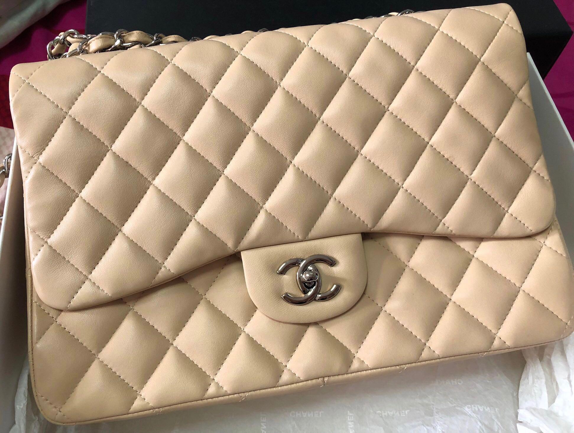 3b3aa6c5ce41 Authentic Chanel Classic Jumbo Flap Bag Lambskin in Beige (SHW), Luxury,  Bags & Wallets, Handbags on Carousell