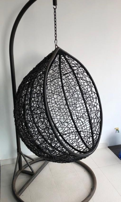 Black Cocoon Swing Chair Outdoor Chair Furniture Tables Chairs