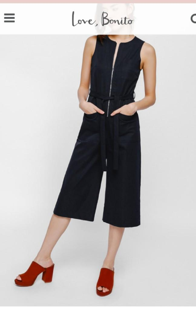 BN Jalarine Zipper Pocket Belted Midi Jumpsuit