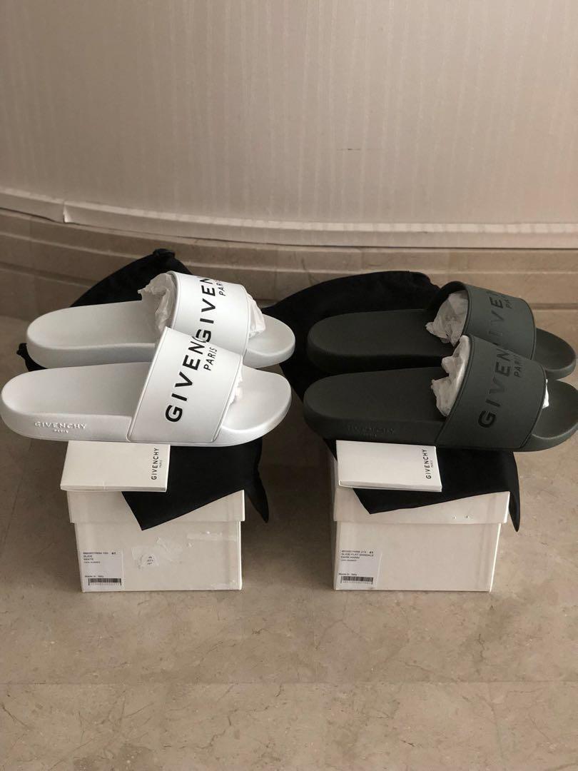 f735a056803b BNIB Givenchy Rubber Logo Slides White   Dark Khaki 41