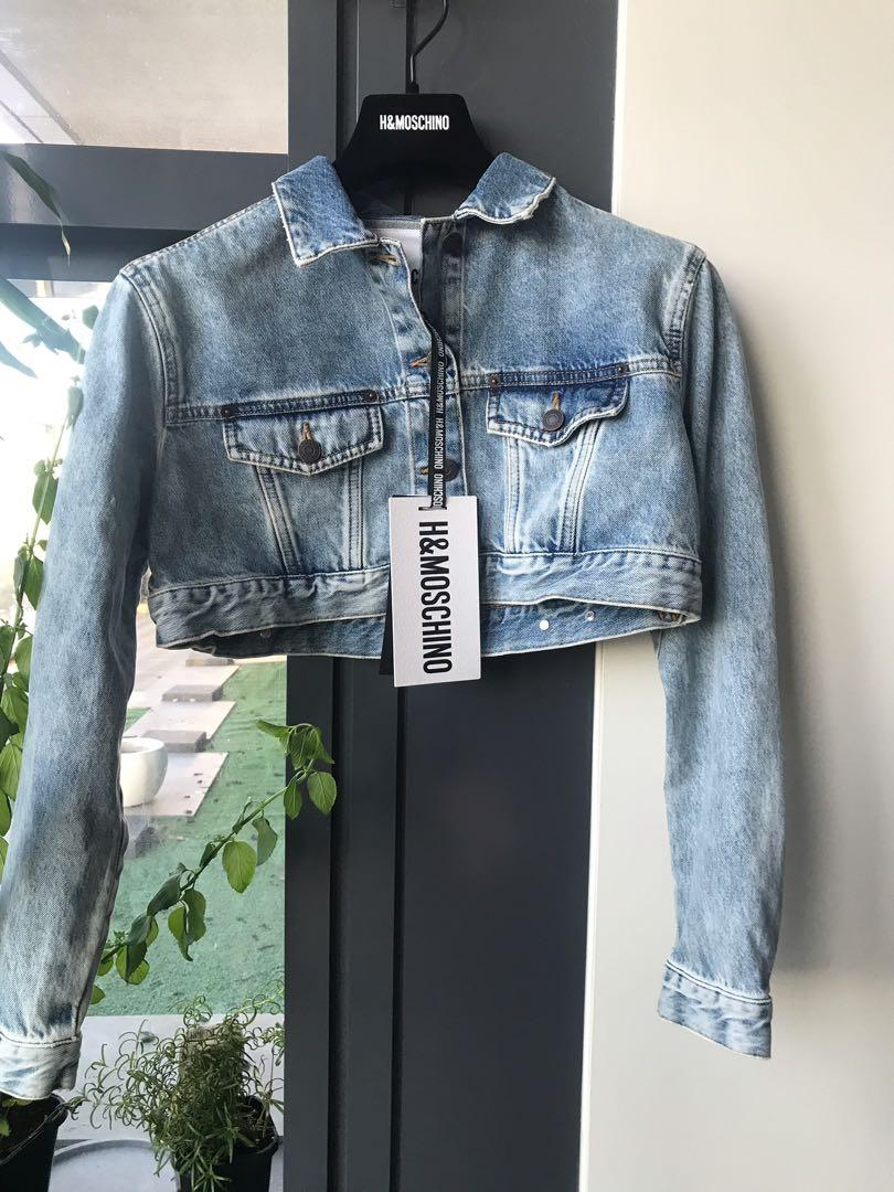 BNWT H&M MOSCHINO CROPPED SPARKLY DENIM JACKET SIZE SMALL LIMITED EDITION
