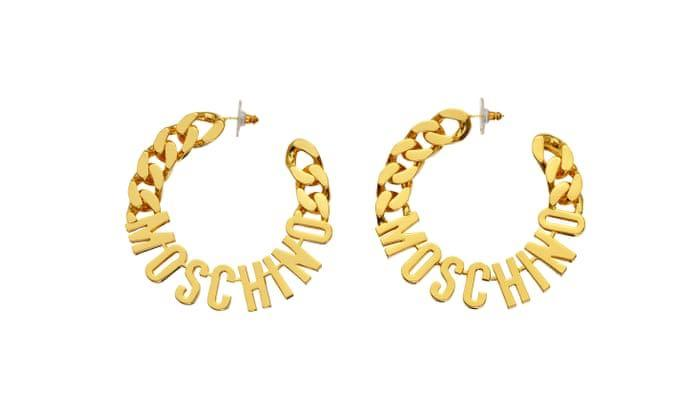 BNWT H&M MOSCHINO GOLD-PLATED EARRINGS ONE SIZE LIMITED EDITION SOLD OUT
