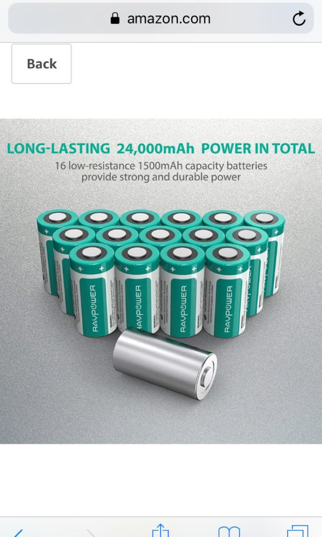 Y  CR123A Lithium Batteries RAVPower 3V Lithium Battery Non-Rechargeable,  16-Pack, 1500mAh Each/4 5Wh, 10 Years of Shelf Life for Arlo Cameras,