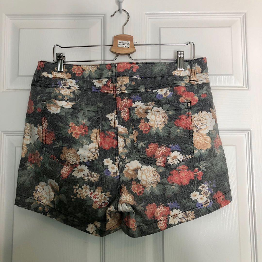 Forever 21 plus floral denim high waisted shorts size 12