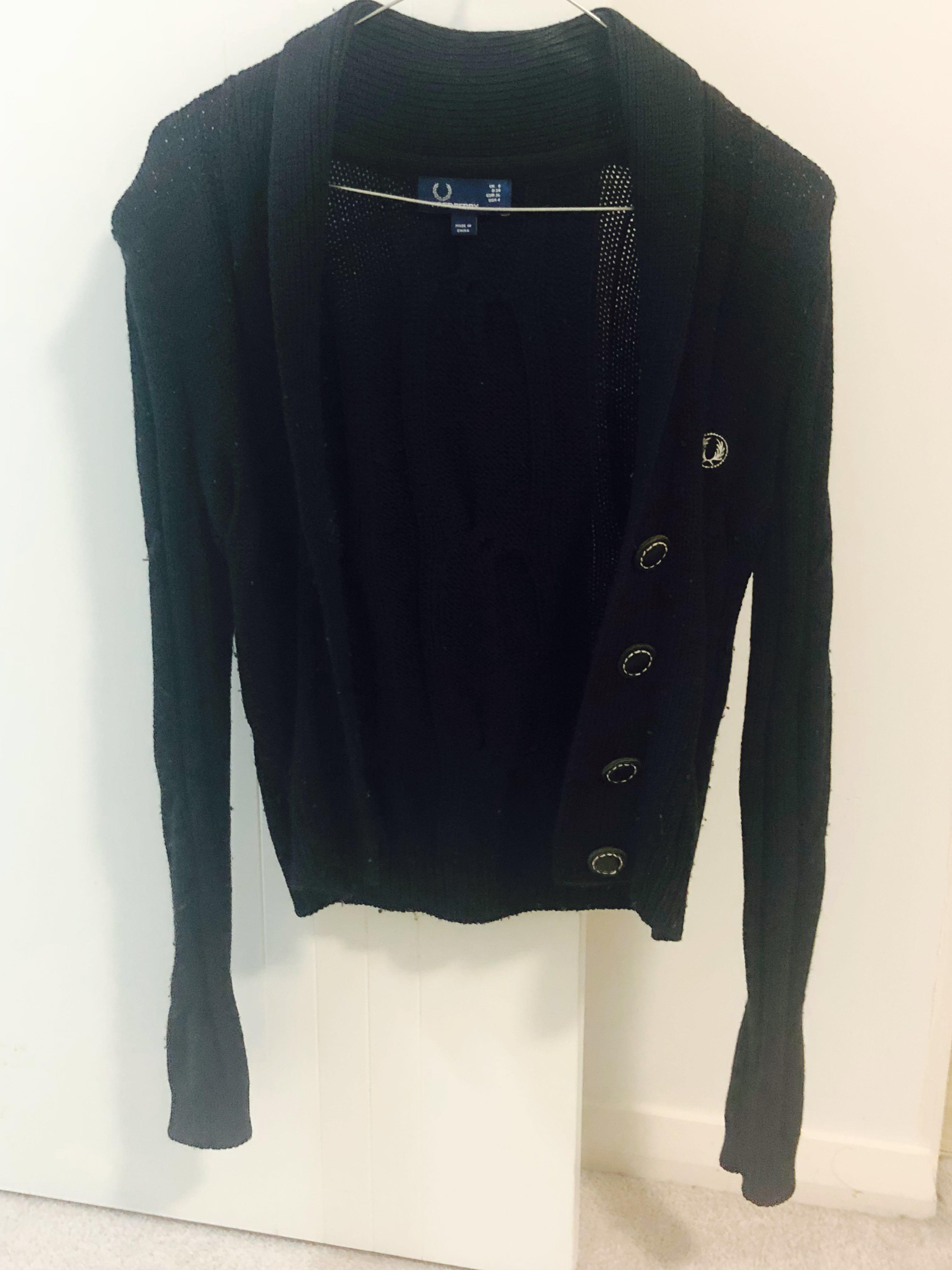 Fred Perry Black Knit Cardigan