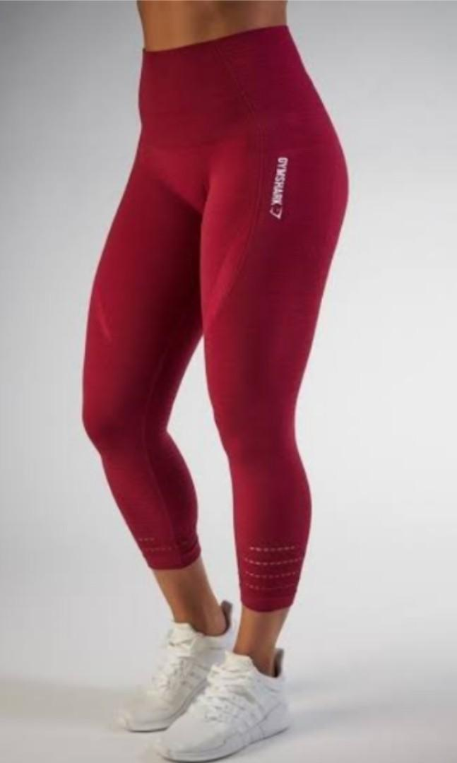 Gymshark XS cropped beet seamless leggings/tights