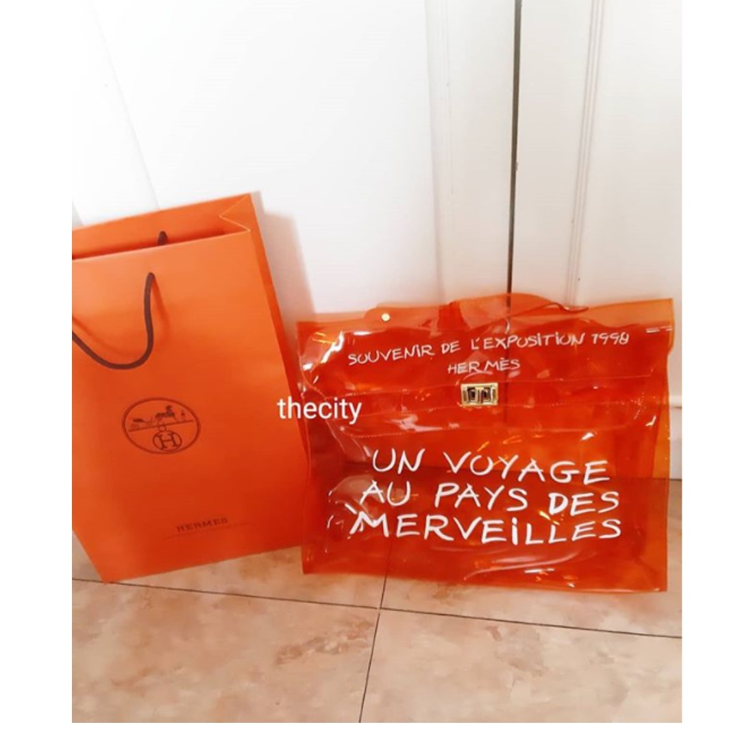 209cb2789aad HERMES VINTAGE CLEAR ORANGE KELLY BAG - RARE NOVELTY COLLECTOR S ...
