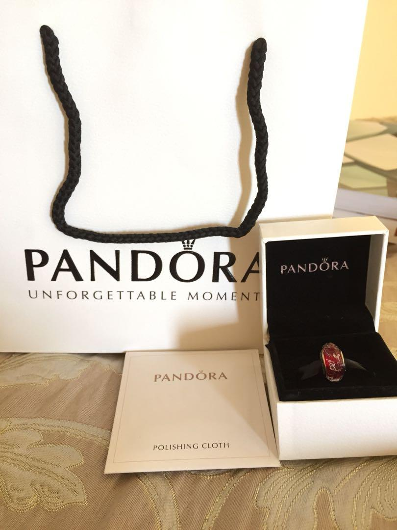 Limited Edition: Pandora red shimmer/silver glass charm