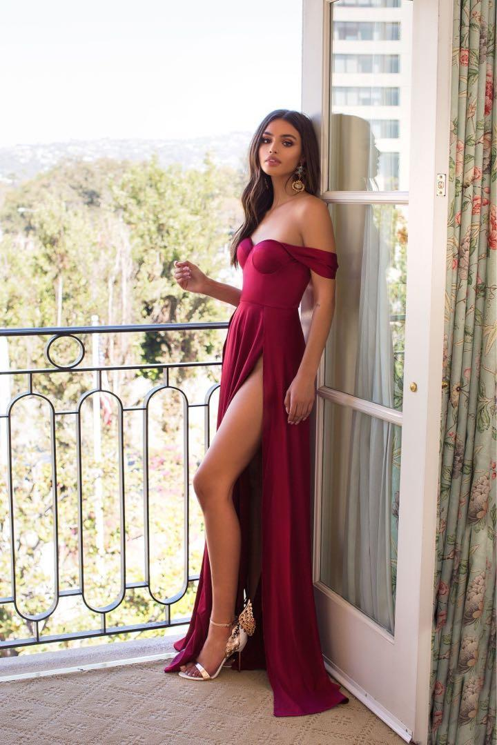 NEW Deep Red Off Shoulder Dress Dominikia Alamour the Label