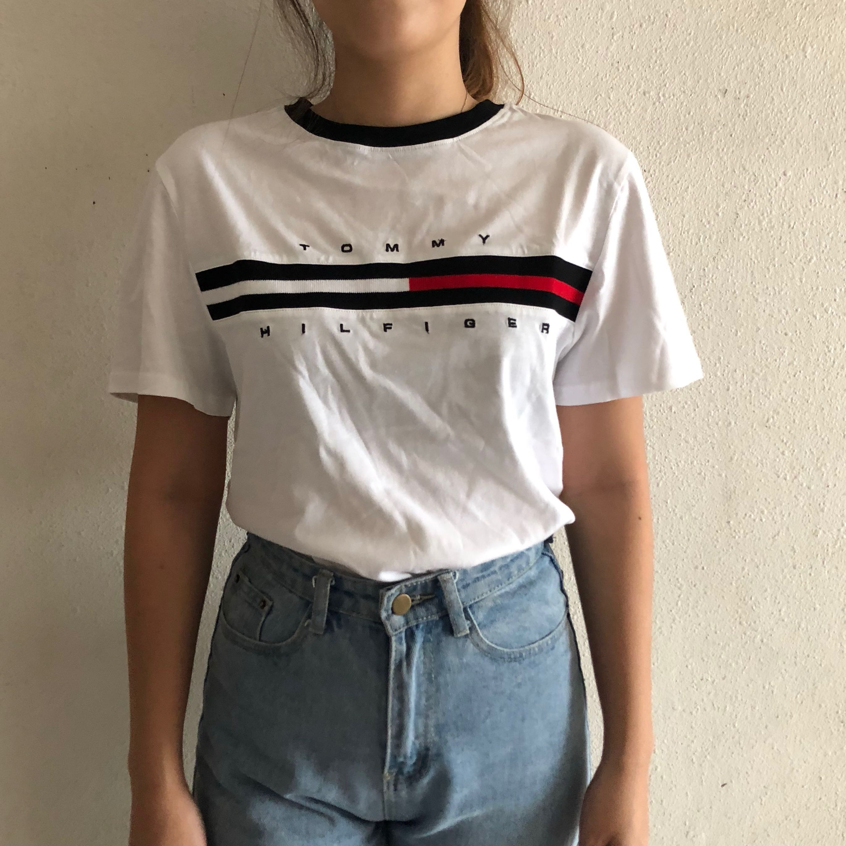 9c34952e *NEW* Tommy Hilfiger Ringer T-Shirt (UK 6-8), Women's Fashion, Clothes,  Tops on Carousell