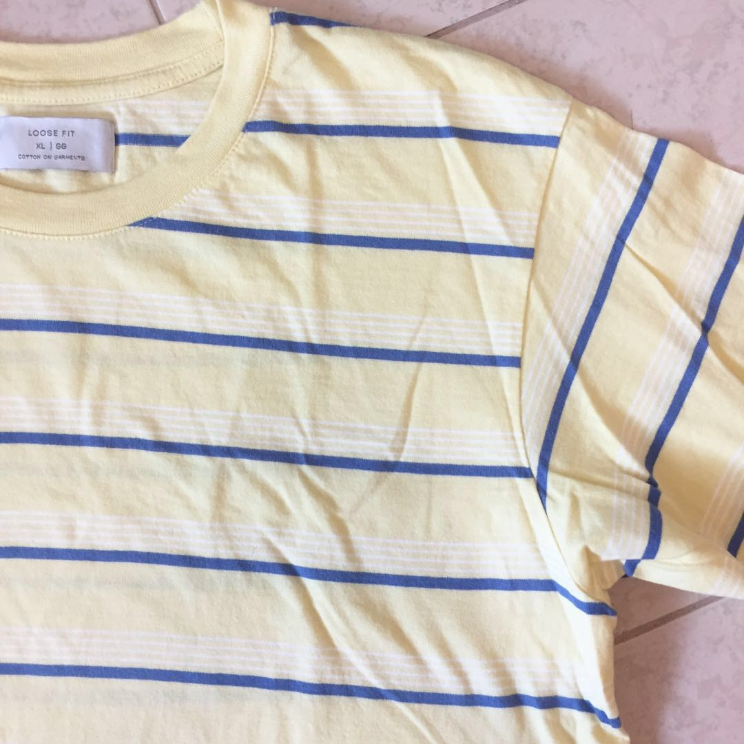 29da89077fc Oversized Yellow Stripe Dylan Tee, Men's Fashion, Clothes, Tops on Carousell